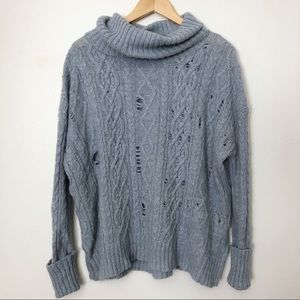 Free People Blue Cowl Neck Oversized Sweater Small